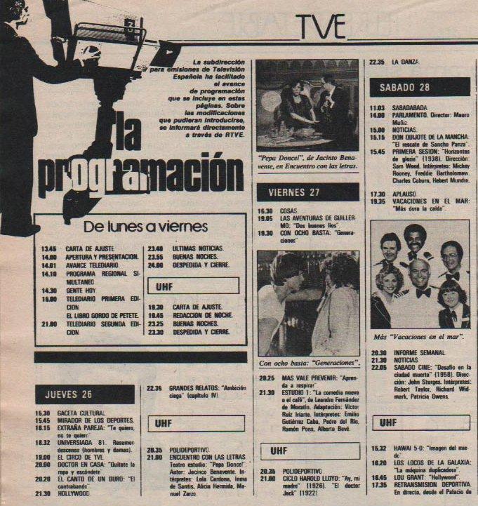 Programacion TVE 1981