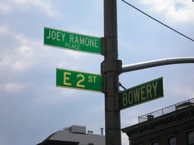 La calle Joey Ramone en Nueva York